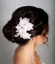 ivory hair flowers lace headpiece