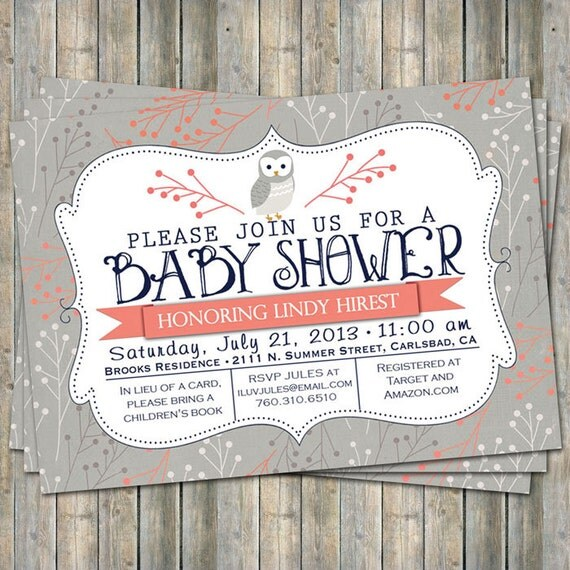 coral and navy owl baby shower invitation typography baby