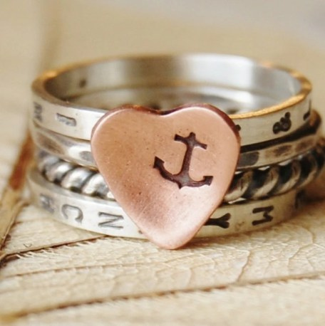 You Are My Anchor  - Stacking Ring Set of 4 - Hand Stamped - Recycled Sterling Silver and a Copper Heart- Your Size