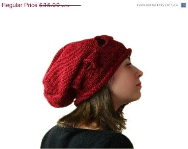 ON SALE OOAK Red Black Knit Slouchy Hat - Tweed Oversized Beret - Women Teens Accessories - ForYouDesign