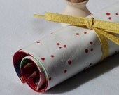 Pencil Roll, Makeup Brush Roll, Handprinted Red Polkadot Albert Hadley Fabric - LilaKids