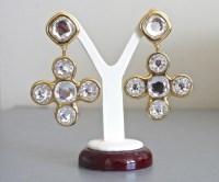 Yves Saint Laurent Crystal Cross Huge Earrings by Robert