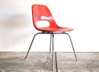 Red Mid Century Chair Fiberglass Shell Chair by Krueger