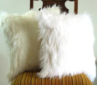 White fur pillow throw 18 X 18 fluffy white fur by ...