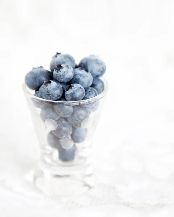 Blueberry Shot - Blueberries in a glass Photo - blue white - Fine Art 8x10 Still Life Photo - LisaBonowiczPhotos
