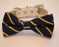 Navy Gold Dog Bow tie with High Quality White by LADogStore