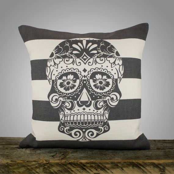 """Sugar Skull Pillow Cover, Black and White Stripe Pillow, Decorative Throw Pillow, Day of the Dead, 16"""""""
