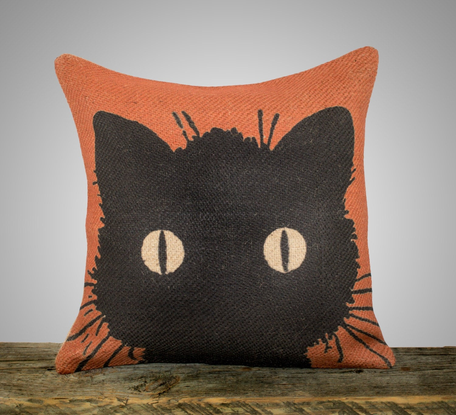 Black Cat Pillow Halloween Decoration Orange Burlap Throw