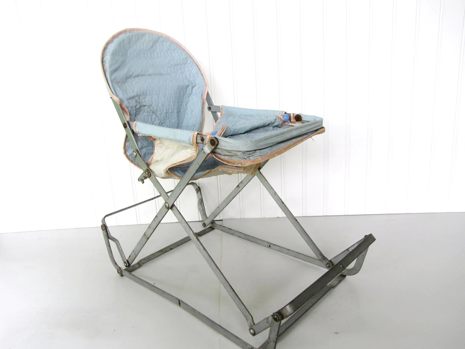 Bouncy Chair Vintage Blue Doll Bouncy Seat Child Toy Baby Doll