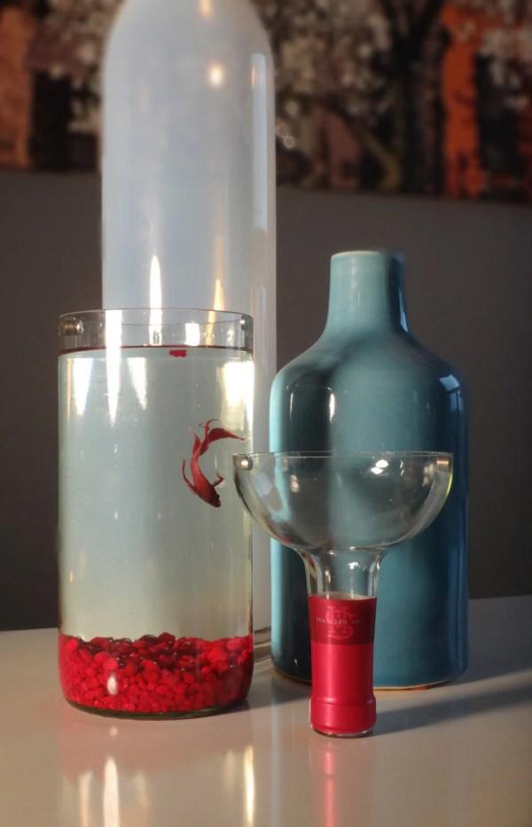 Glass Wine Bottle Betta Fish Tank Aquarium Kit Complete