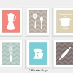 Artwork For Kitchen Vessels Set Modern Art Print Utensil Appliance Silhouettes