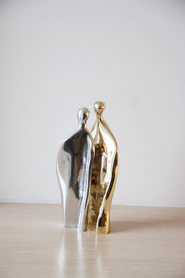 Man-woman Abstract Sculpture Brass And Aluminum Set Of Two