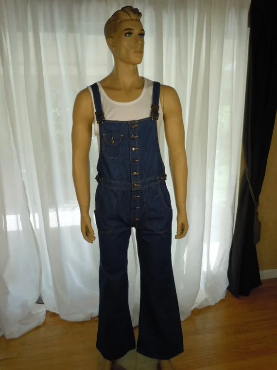 Vintage 70s Mens Bell Bottom BIB OVERALLS Button by OhUMen