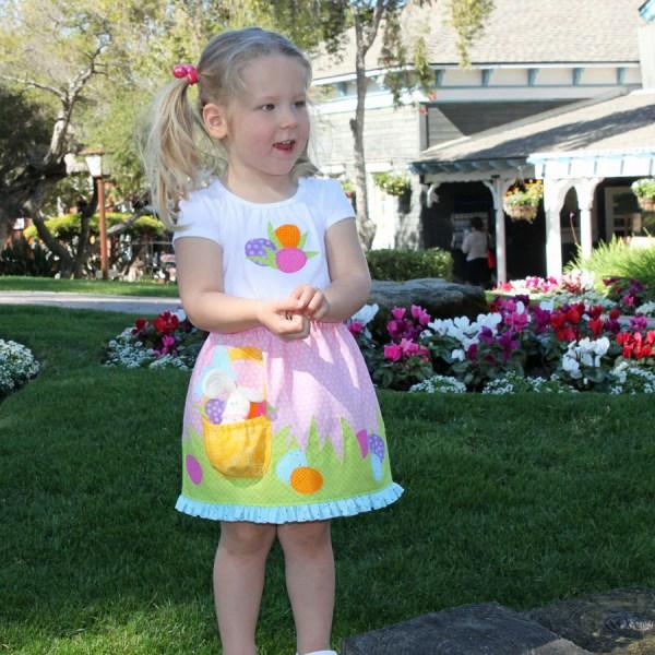 Easter Basket Pocket Girls Pdf Dress Pattern Applique