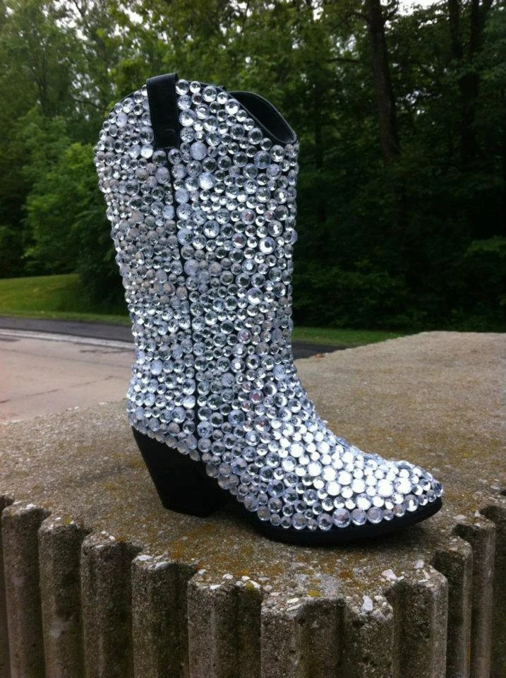 Custom Rhinestone Cowboy Boots by TietheKnotCreationz on Etsy
