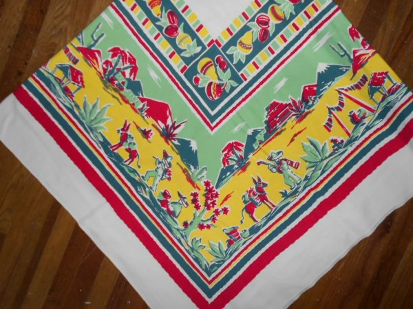 VINTAGE TABLECLOTH CoLoRfuL MeXicaN THeMe 47 X by