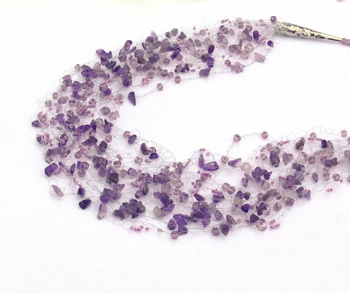 Amethyst Necklace. Multistrand Purple Necklace. Beadwork. Beaded Jewelry