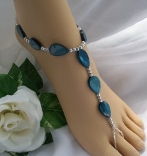 Barefoot Sandals Foot Jewelry Slave Anklet Teal