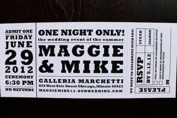 Items similar to Concert ticket wedding invitation on Etsy