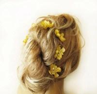 yellow flower hair clip wedding hair accessories bridal