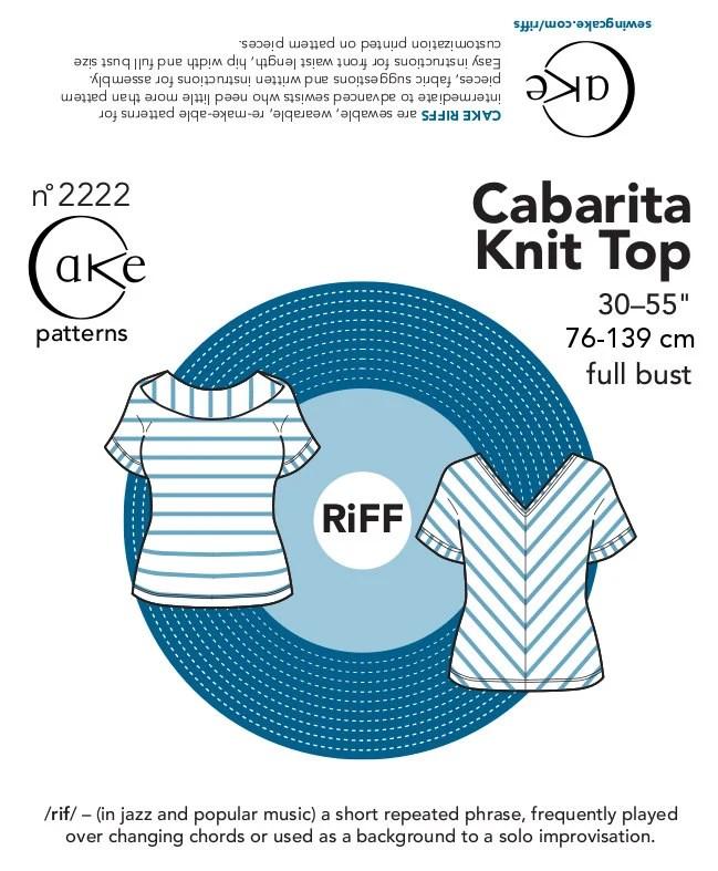 "Cake Patterns RiFF Cabarita Knit Top 30""-55"" (76.2- 139.7cm) Full Bust Paper Pattern"