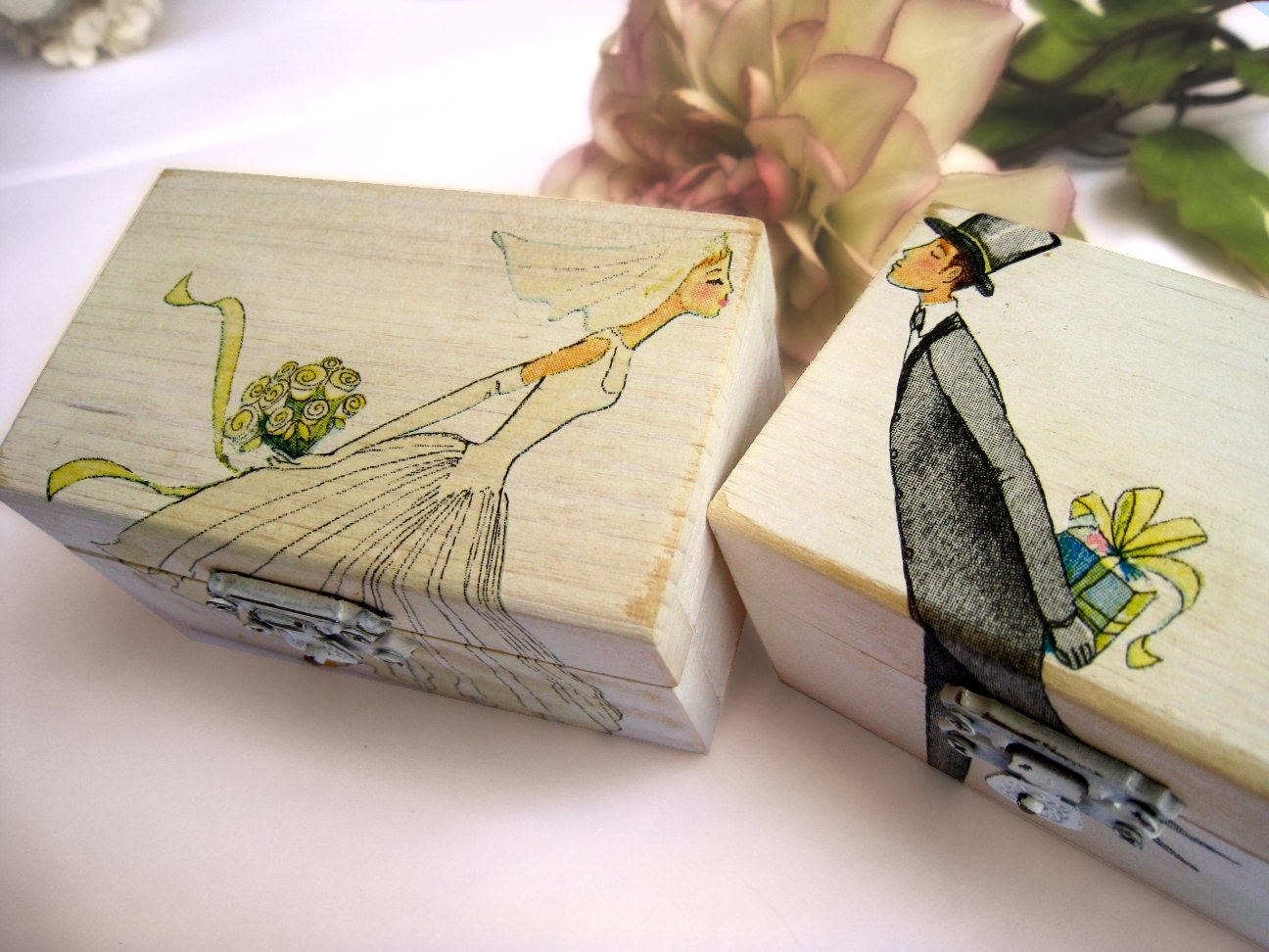 Personalized White Wedding Ring Bearer Box Wooden Box Gift Box