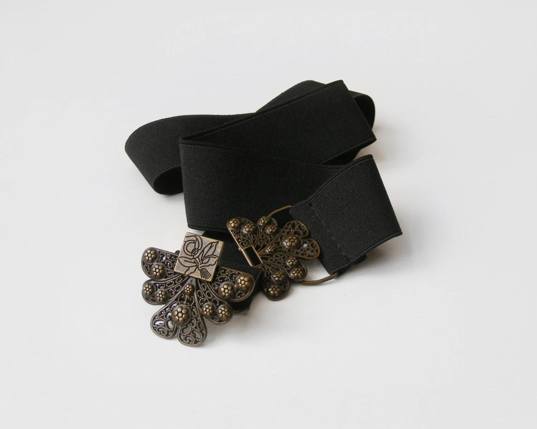 Vintage long black stretch belt with floral buckle, black elastic belt - plot
