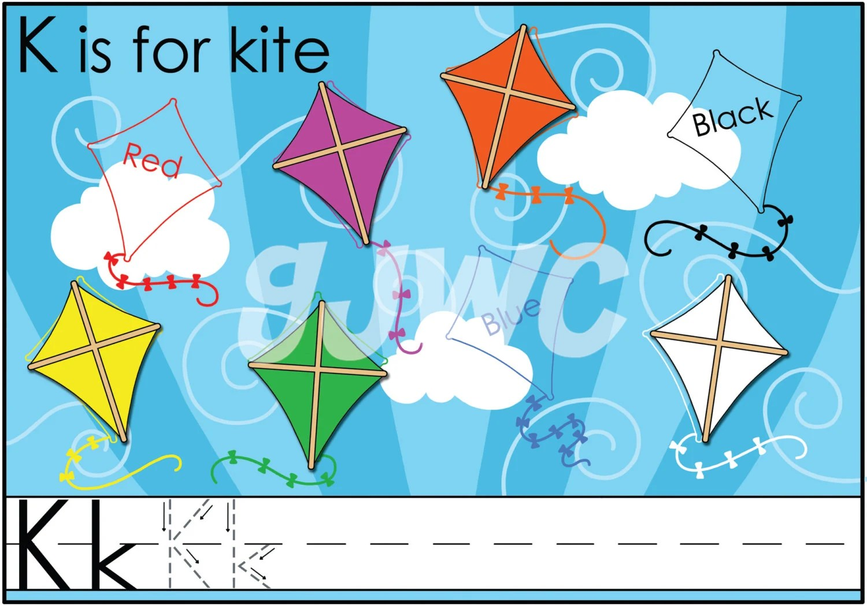 K Is For Kite Alphabet File Folder Game Downloadable