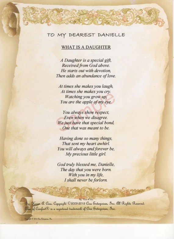 Five Stanza What Is A Daughter Poem Shown On