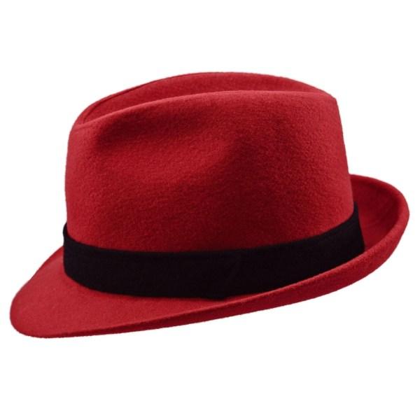 Redhead Touching Brim Of Blue Felt Hat - imgUrl b327c824256e