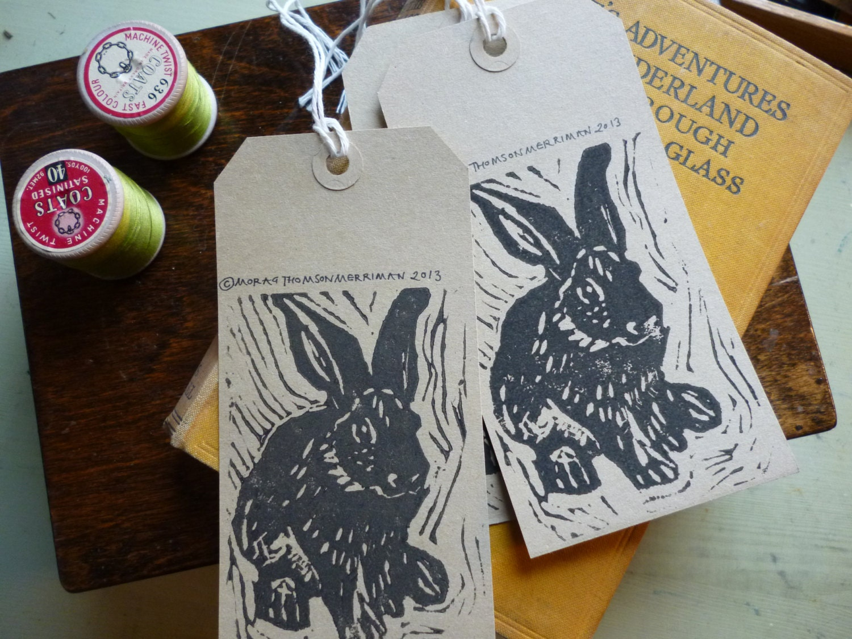 Rabbit Print T Tags Labels 5 Pack Ideal By Mostudioillustration