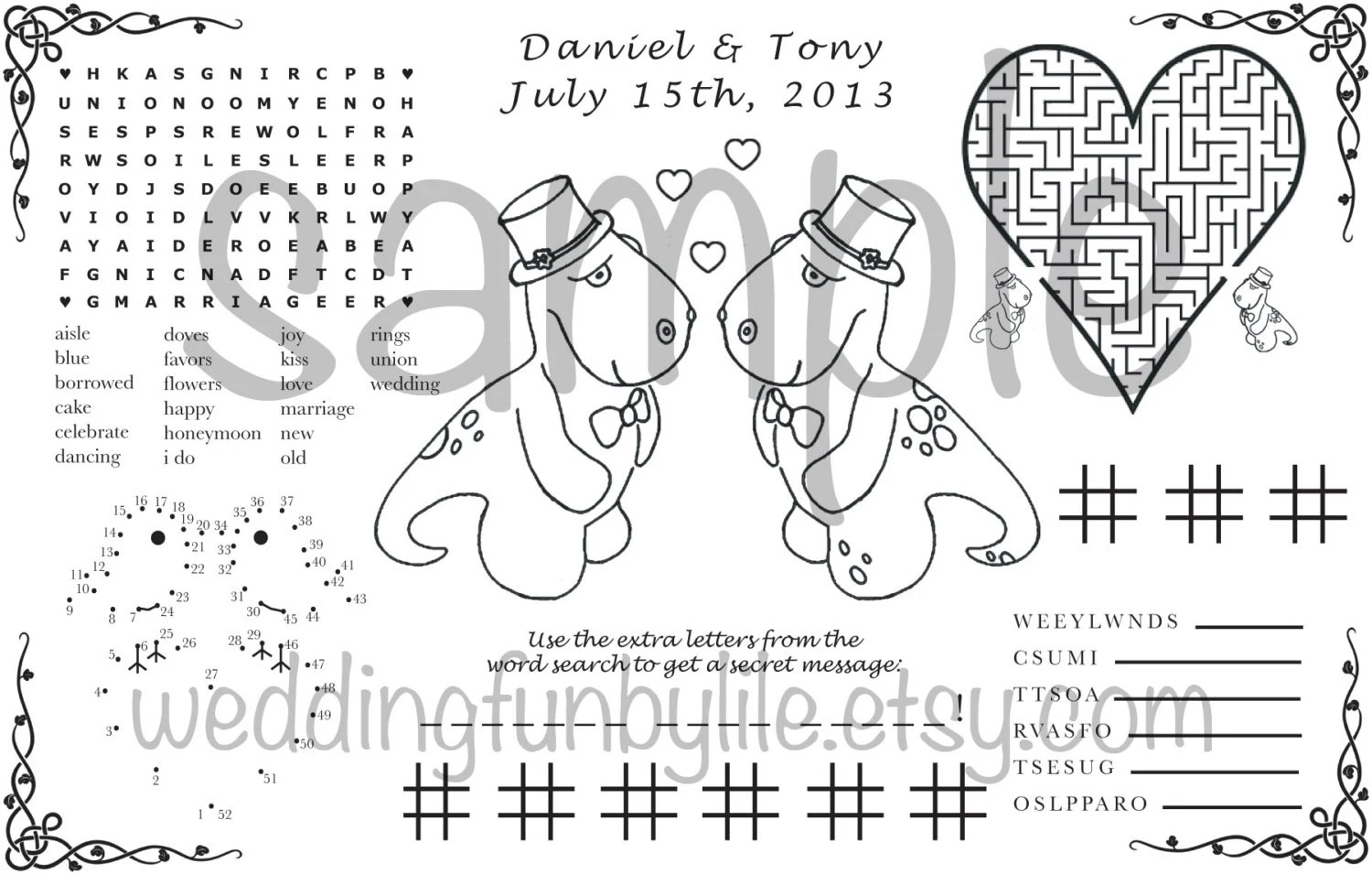 Wedding Activity Page PDF. Kids Printable. Gay LGBTQ. Custom