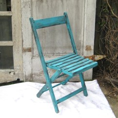 Folding Chair Upcycle Sling Replacement Vintage Upcycled Aqua Garden Rustic Wood