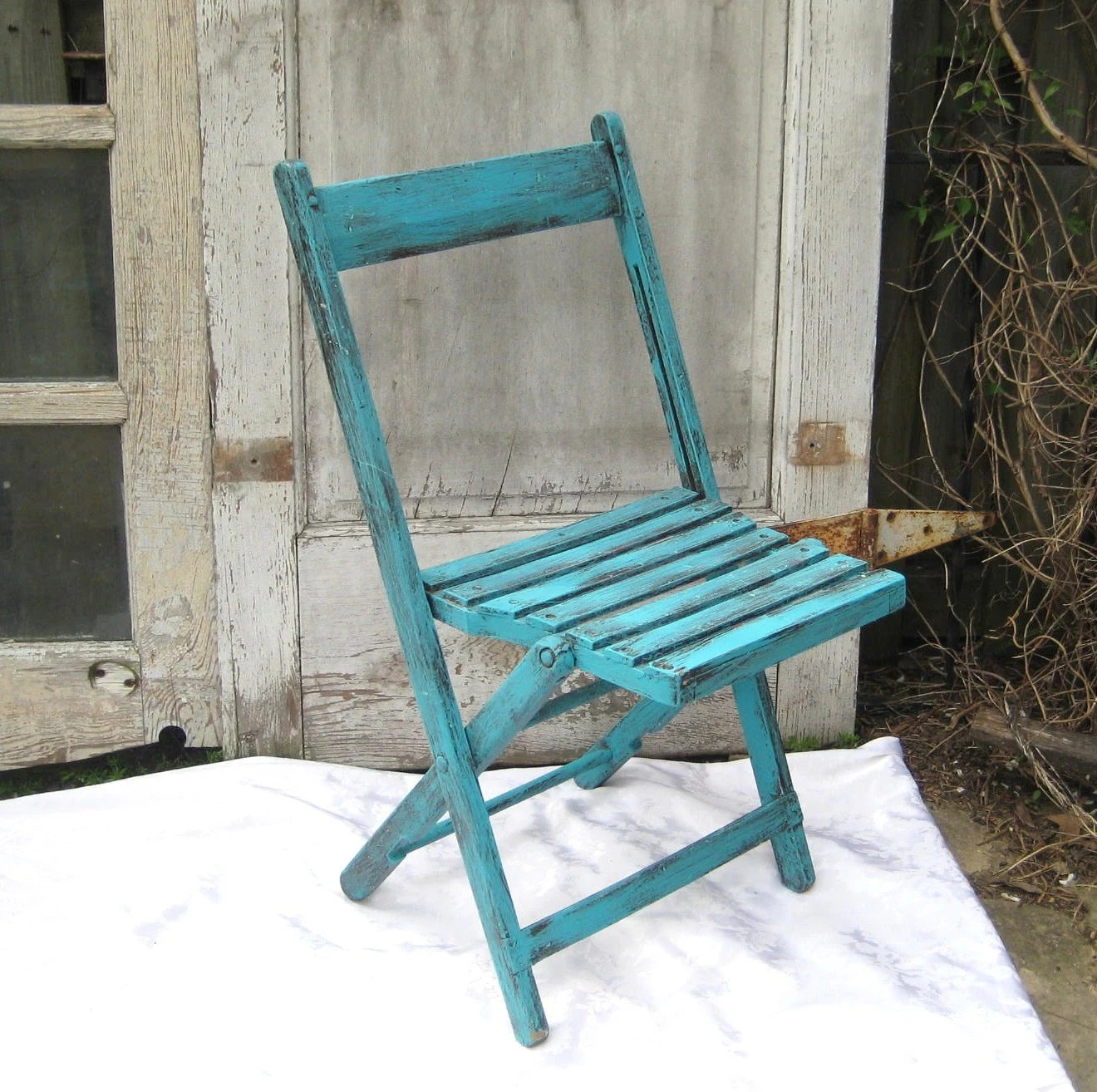 folding chair upcycle teak dining room chairs vintage upcycled aqua garden rustic wood