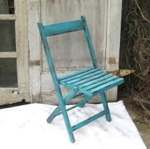 Vintage Folding Chair Upcycled Aqua Garden Rustic Wood