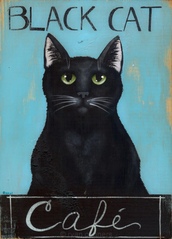 Black Cat Cafe Original Folk Art Painting Kilkennycatart