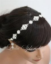ribbon headband pearl crystal wedding