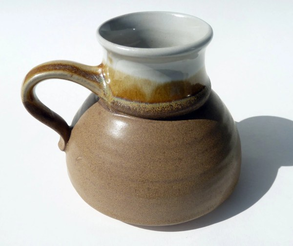 Pottery Travel Spill Mug Wide Base Handmade In Stone Toffee