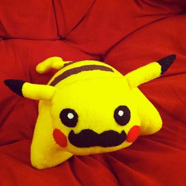 Moustache Pikachu Pillow Pet : Pokemon Plush / Toy