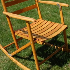 1920s Rocking Chair Toddler Beach Personalized Portable Wooden Antique Telescope Folding Maple