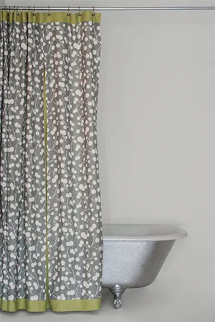 Grey And Green Shower Curtain Bacova Portico Damask Shower