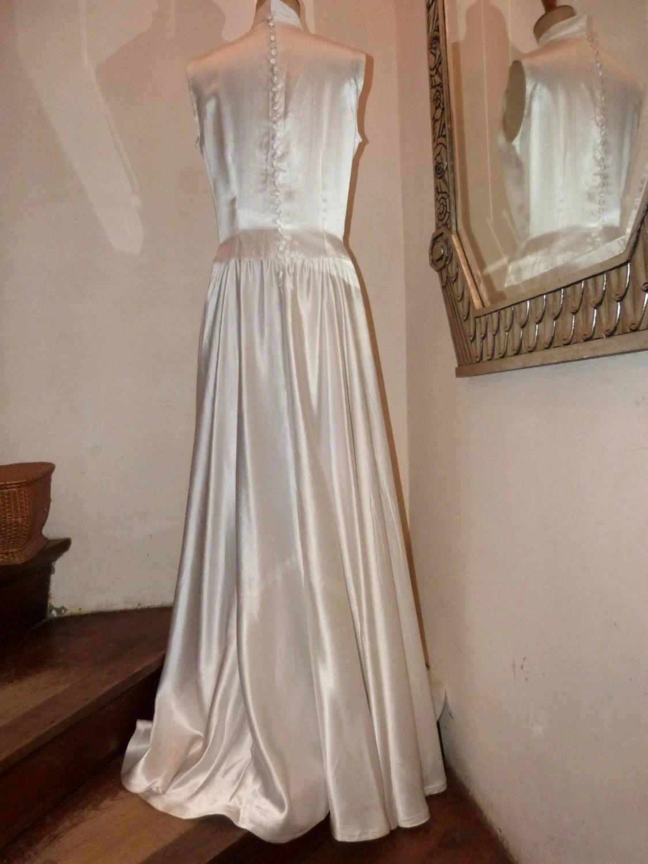 Antique white satin button up wedding dress by