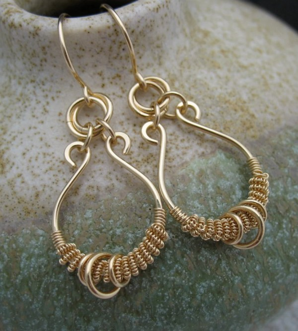 Solid 14k Gold Wire Wrapped Earrings Real