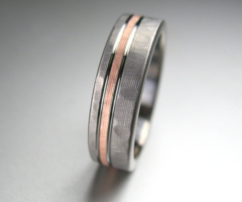 Mens Wedding Band Titanium Amp Rose Gold Hammered Comfort