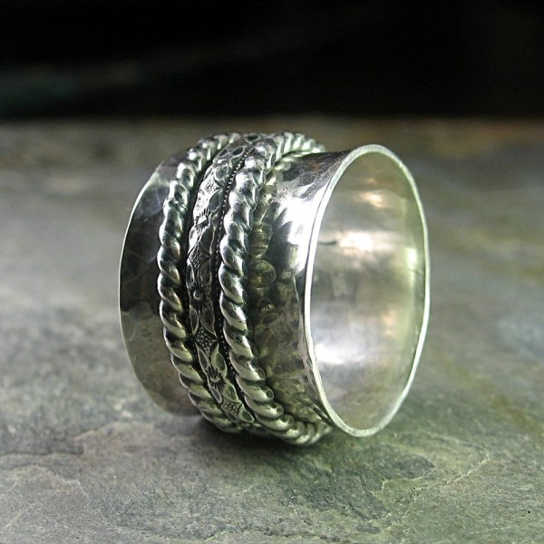 Spinner Ring Meditation Worry Wide Band Sterling
