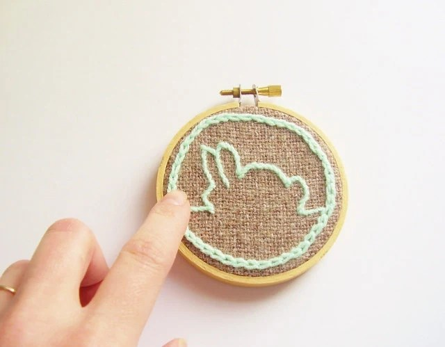 Bunny silhouette embroidery hoop, Easter rabbit ornament, hanging wall art, rustic modern minimalist art, made to order - rosemauve
