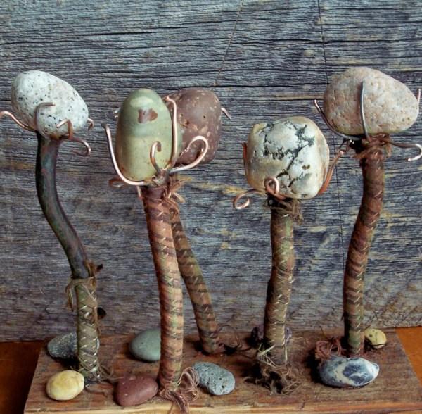 Rock Garden Sculpture Salvage Art Assemblage Reclaimed Wood