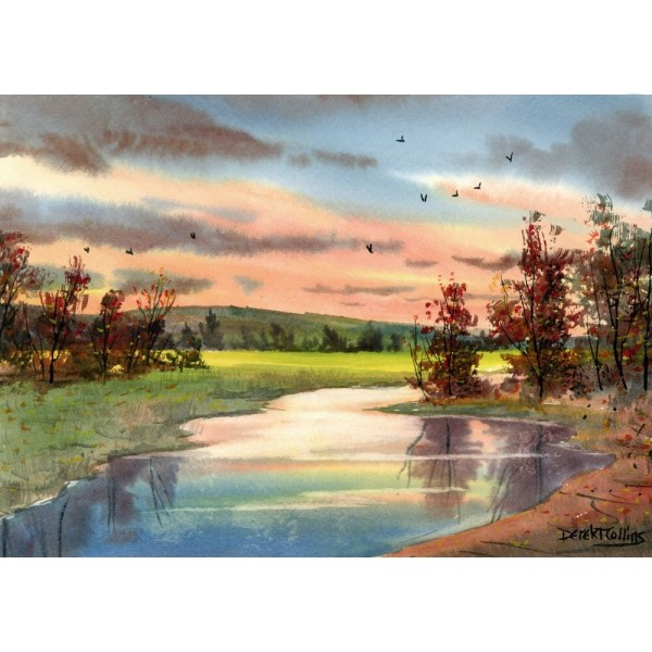 Watercolor Painting Landscape with Trees