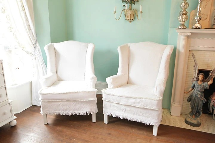 shabby chic wingback chair s vintage by VintageChicFurniture