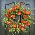 Spring wreath front door wreath red daisies summer gardens